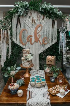 Wedding Cake Table | Macrame & Feathers For A Boho Wedding At The Kedleston Derby With Succulents & Foliage Details And Images By Magda K Photography
