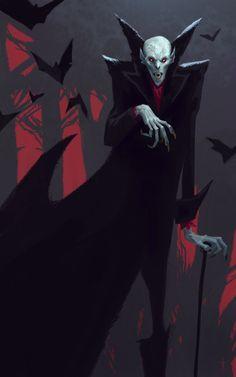 Art by Aleksandar Ignatov My Fantasy World, Dark Fantasy, Fantasy Art, Monster Vampire, Character Art, Character Design, Vampire Masquerade, Horror Monsters, Vampire Art