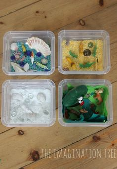 "Ideas for creating Animal Habitat Mini Sensory Tubs - from The Imagination Tree ("",)"