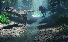 Love the atmosphere in this dinosaur painting. Wish I knew who the artist is. Dinosaurs Rock!