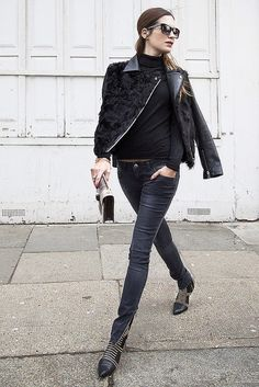 ☆ Rock 'n' Roll Style ☆ Gala is wearing jeans and boots by Anine Bing, jacket by Sandro
