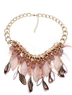 Gold Chain Feather Fringe Necklace