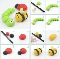 Worm, bee and lady bug