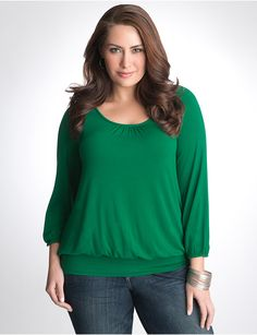 I want a simple green top. Plus Size Knit Peasant Top by Lane Bryant   Lane Bryant- Have this one in this color and red