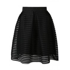 Black Sheer Stripe Knee Length Skater Skirt ($23) ❤ liked on Polyvore featuring skirts, persunmall, women skirts, circle skirt, striped skater skirt, black skater skirt and black flared skirt