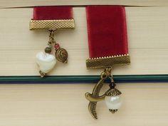 bookmark A swallow Velvet Heart bronze by KINGkerlitz on Etsy