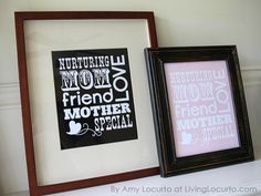 Subway art...Free printable. Just add a standard frame or mat and gift for Mom