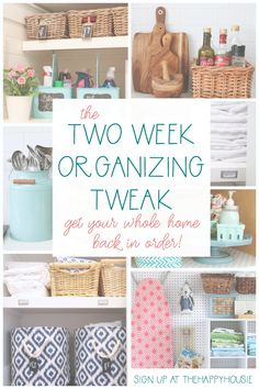 The Two Week Organizing Tweak! – The Happy Housie Organisation Hacks, Organizing Hacks, Organizing Your Home, Kitchen Organization, Organization For Small Bathroom, Cleaning Hacks, Diy Pillows, Decorative Pillows, Home Crafts