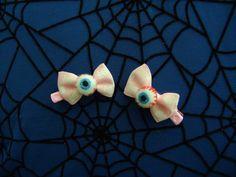 Baby Pink Mini Eyeball Bows Skull Print Bows by Th1rte3nsCloset, $6.00