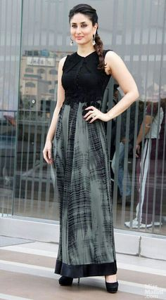 classic-look-ponytail-for-indian-women-in-maxi-dress