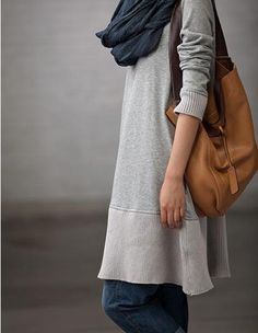 sweatshirt dress with camel bag...