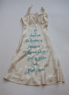 """Zoë Buckman ~ """"Definition of feminine"""" from her ongoing project, Every Curve, combines vintage lingerie, hand embroidery, and the iconic lyrics of The Notorious B. Feminist Art, Feminist Quotes, Textiles, A Level Art, Vintage Lingerie, Embroidery Art, Textile Art, Couture, Diy Clothes"""