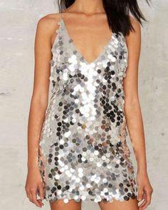 Shiny sequins tank dress for women v neck tank tops