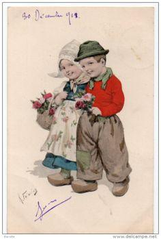 Illustrateur Karl Feiertag -  1911 -  Couple D'enfants En Costume Traditionnel - Feiertag, Karl