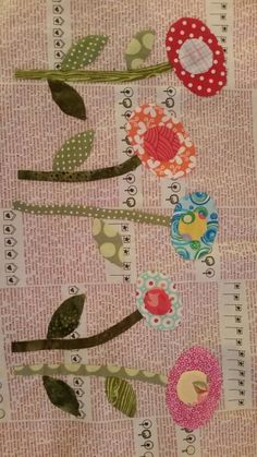 Applique Block 2 in my Green Tea and Sweet Bean project - just love Jen Kingwell design.