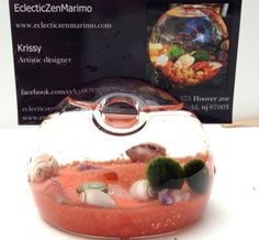 Marimo business card terrarium holder, with live nano marimo moss balls and healing crystals, living home decor  I'd love this for my desk!!