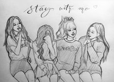 Best Friend Drawings, Dark Art Drawings, Girly Drawings, Kpop Drawings, Easy Drawings, Pink Drawing, Girl Drawing Sketches, Pop Art Girl, Black Pink Kpop
