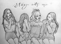 Easy Drawings Sketches, Girl Drawing Sketches, Girly Drawings, Kpop Drawings, Pencil Art Drawings, Blackpink Lisa, Pink Drawing, Pop Art Girl, Drawings Of Friends