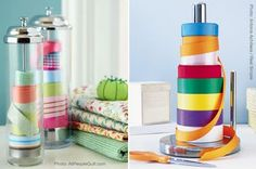 Ribbon storage...Would be cute on a old wooden paper towel holder for your burlap ribbon:)