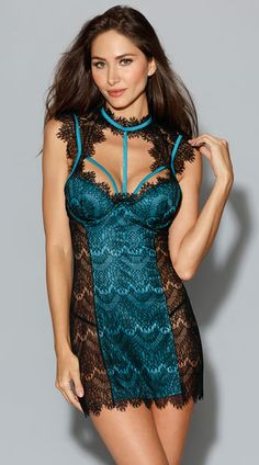 Teal Eyelash Lace Chemise, Teal and Black Lace Chemise
