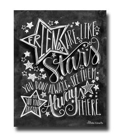 Chalk Art Chalkboard Art Friends Are Like Stars by TheWhiteLime, $17.00