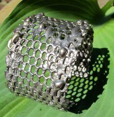 Large Modern Honeycomb Sterling Cuff.