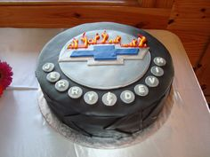 Groom's Cake!  For the love of Chevys & racing cars!  16 inch round cake in 3 layers!