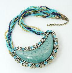 PandaHall Jewelry—Tibetan Style Resin Necklaces with Zinc Alloy Finding and Rhinestone | PandaHall Beads Jewelry Blog
