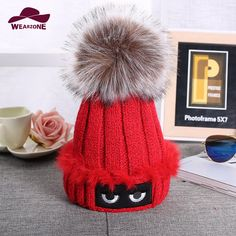Brand 2016 Women Spring Winter Hats Beanies eyes embroidery Knitted Cap Crochet Hat Fur Pompons Ear Protect Cap Chapeu Feminino