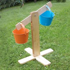 Outdoor Wood Buckets and Scales Set