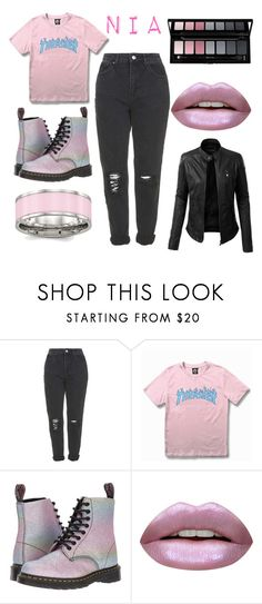 """""""22"""" by thisisalle on Polyvore featuring Topshop, WithChic, Dr. Martens, Huda Beauty and LE3NO"""