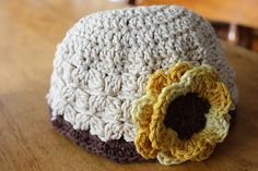 sunflower crochety baby hat