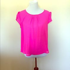 Hot pink top Great for spring . Hot pink top scalloped sleeves Tops Blouses