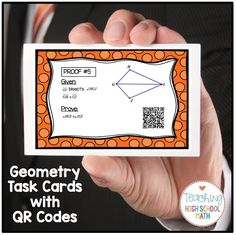 Geometry Task Cards with QR Codes...congruent triangles, measuring angles, volume and surface area, right triangles.