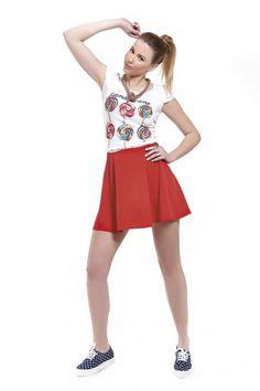 Φούστα κρεπ ελαστικό mini σε κλος γραμμή με μεταλλικό φερμουάρ πίσω 00da86886ec