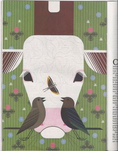 Charley Harper - Cow with Cowbirds, Ford Times