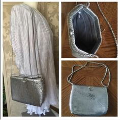 """Vintage Silver Metal Mesh Crossbody Bag Gorgeous shimmery silver metal mesh roomy purse w/silver leather & chain entwined strap. Strap can be pulled through hardware & doubled to shorten. Inside lined in gray fabric w/a side zippered compartment. Top pulls (and stays) open until manually closed. GREAT FOR EVENING OUT, FOR FORMAL NIGHTS, WEDDINGS,  PROM, ETC. Measures 9-1/2"""" wide x 7"""" tall (19"""" single strap drop & 11"""" doubled) x 2"""" deep. NO TEARS, SPOTS OR STAINS. No maker's tag. In wonderful…"""