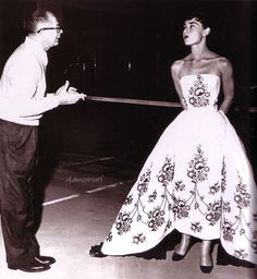 Audrey Hepburn in Sabrina. Ivory silk. Light blue embroidery, Swarovski crystal pearls and shoes. Detachable bustle.