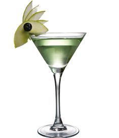 Ingredients: 50 ml De Kuyper Sour Apple, 50 ml Vodka. Garnish: slice of apple. SHAKE all ingredients with ice and fine strain into chilled glass. Dry Ice Cocktails, Cocktail Drinks, Apple Vodka, Cocktail Garnish, Martini, Smoothies, Make It Yourself, Tableware, Shake