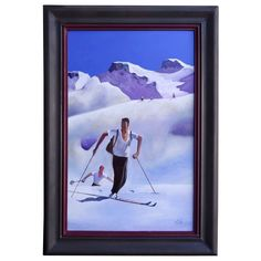 "A Tribute to ""Ascent"" by Waldemar Sint Skiing in the Alps Vintage Ski Posters, Bouldering, Oil On Canvas, Skiing, Auction, Wall Decorations, Contemporary, Antiques, Gallery"