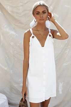 The Barca Dress is made from a lightweight linen blend fabric in an off white hue. By Sabo Skirt. Linen Dresses, Cute Dresses, Casual Dresses, Fashion Dresses, Dresses Dresses, Fashion Clothes, Style Outfits, Summer Outfits, Summer Dresses