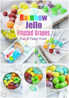 [Freeze your grapes to garnish your magic color/flavor changing drinks] Rainbow Jello frosted grapes recipe! Rainbow frosted grapes are fun rainbow food that are also a gluten free treat! Candied Grapes Recipe, Candied Fruit, Rainbow Jello, Rainbow Food, Rainbow Desserts, Rainbow Snacks, Rainbow Cakes, Jello Desserts, Goodies