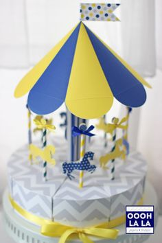 Introducing the Yellow, Navy Blue and Grey Merry-Go-Round Favor Box Centerpiece Set!