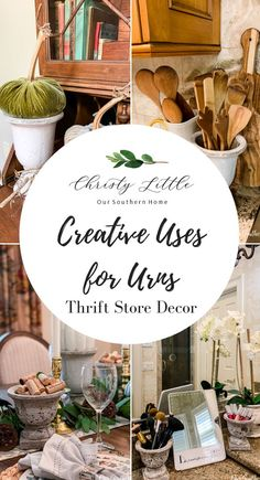 Creative Uses for Urns Coffee Table Vignettes, Thrift Store Crafts, Thrift Stores, Buffet, Porch Decorating, Decorating Ideas, Decor Ideas, Diy Ideas, Fall Table