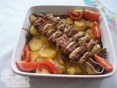 Vepřové špízy na bramborách Sausage, Foods, Meat, Food Food, Food Items, Sausages, Chinese Sausage