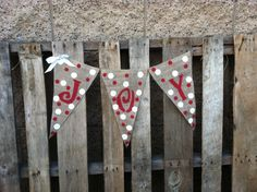 JOY Burlap Christmas Banner 1.00 shipping by BurlapGirl on Etsy, $13.00