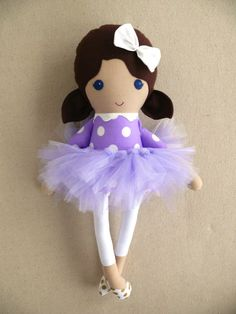 Fabric Doll Rag Doll Brown Haired Girl in Purple by rovingovine