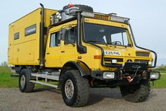 Mercedes Unimog Double Cab Camper I will have one in lifejacket orange