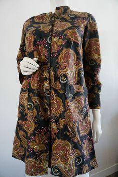 Tunique Blouse NYLON Taille 40 Vintage VTG PsYCHEDELIQUE hIPPIE bOHEME tWiggy