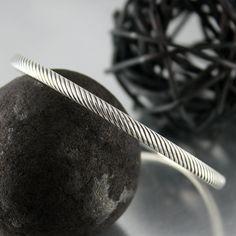 Diagonal Design Sterling Silver Bangle by JenniferWoodJewelry